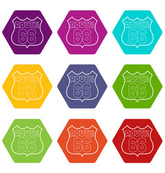 route 66 shield icons set 9 vector image