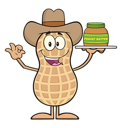 Royalty Free RF Clipart Cowboy Peanut Cartoon vector image