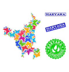 Save nature collage of map of haryana state with vector