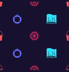 Set aquarium lifebuoy ship steering wheel vector
