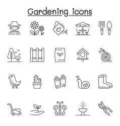 Set gardening related line icons contains vector