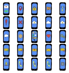 Set of doodle phones with different functions vector