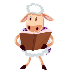 Sheep reading book on white background vector
