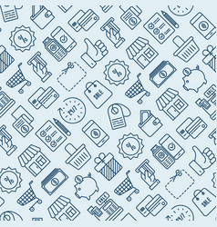 Shopping seamless pattern with thin line icons vector