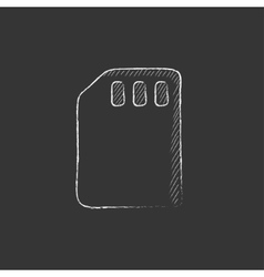 Sim card Drawn in chalk icon vector