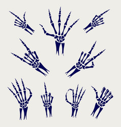 skeleton hands signs on grey background vector image