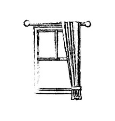 Sketch windows with curtain elegance decoration vector