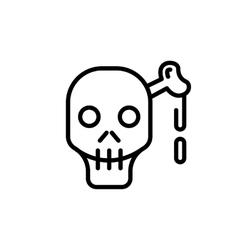 Skull and bone line icon for web mobile vector