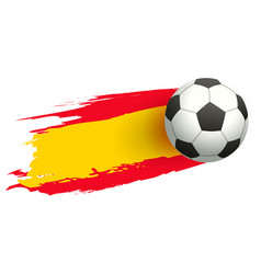 soccer ball in background of spanish flag vector image