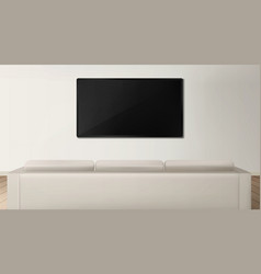 Sofa and tv back view in living room interior vector