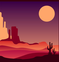 Stony arizona desert with silhouettes of cacti vector
