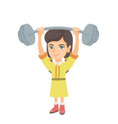 strong caucasian girl lifting heavy weight barbell vector image