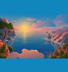 summer nature beautiful landscape sunrise over vector image
