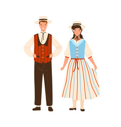 Swiss couple wearing traditional striped costumes vector