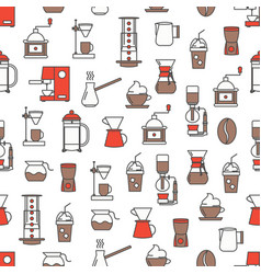 thin line art coffee brewing seamless vector image
