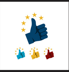 Thumbs up star sign logo symbol good rating vector