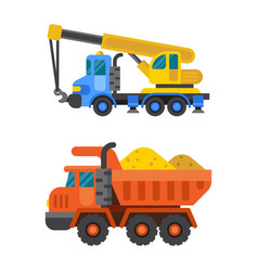 Tipper truck and construction crane industry vector
