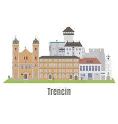 trencin city in western slovakia vector image