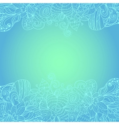 Turquoise hand-drawn ornament floral border vector