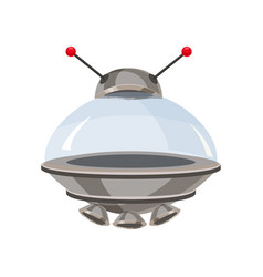 ufo flying spaceship isolated on white cartoon vector image