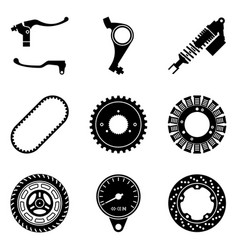 Various kinds motorcycle parts silhouette icon vector