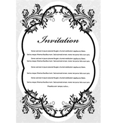 Vintage invitation with floral vector