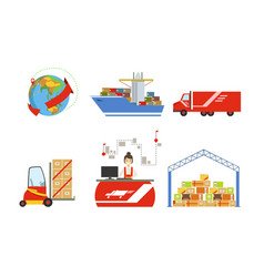 warehouse cargo transportation logistics and vector image