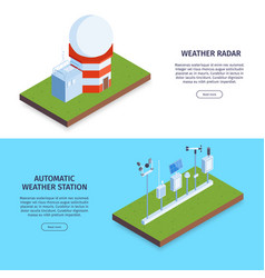 Weather station horizontal banners vector