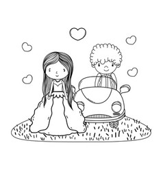 Wedding couple marriage cute cartoon in black and vector
