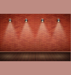 White brick wall room with vintage spotlights vector