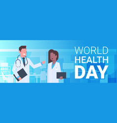 world health day poster with male and female vector image