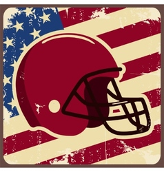 American football label with helmet and flag vector image vector image