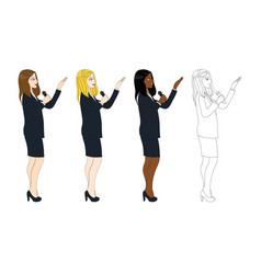 business woman with microphone presentation side vector image