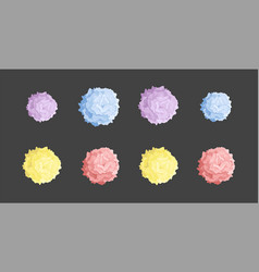 Collection of colored pom poms colorful vector