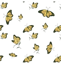 colored doodle butterfly pattern vector image