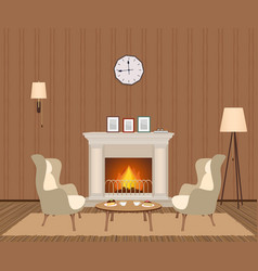 cozy living room interior with fireplace vector image