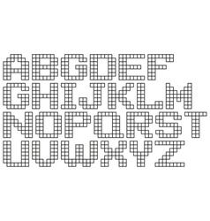 English black cell pixel alphabet set vector image