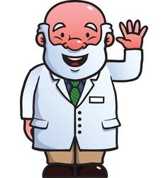 Scientist waving at camera vector image vector image