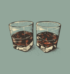 two glasses with rum vector image