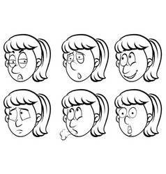 woman and six different emotions vector image vector image