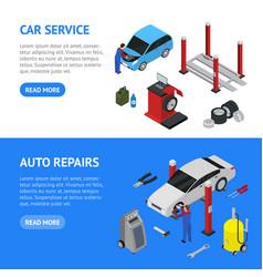 car auto service banner horizontal set isometric vector image vector image