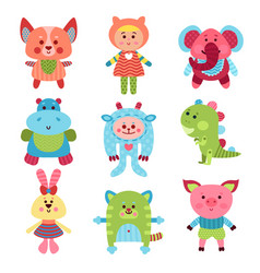 cute cartoon animals and baby toys set of colorful vector image