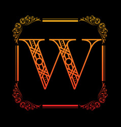 letter w with ornament vector image