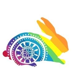Rainbow rabbit with ornament vector image