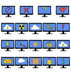 Set of computer monitors showing different vector