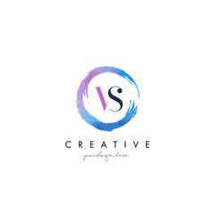 vs letter logo circular purple splash brush vector image vector image