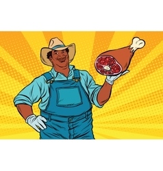 African American farmer with meat foot vector image