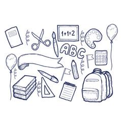 back to school supplies sketchy notebook doodles vector image