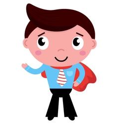 Cartoon superhero businessman in red cape vector image vector image