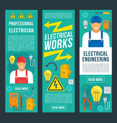 electrician and electrical works banners vector image